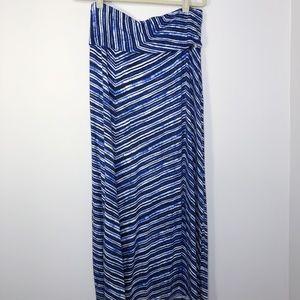 Calvin Klein Blue and White Maxi Skirt Size - L